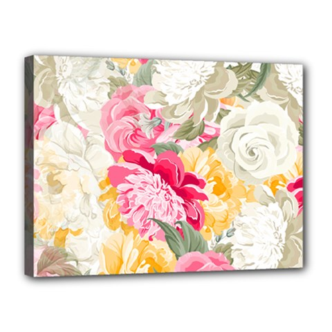 Colorful Floral Collage Canvas 16  X 12  by Dushan