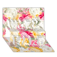 Colorful Floral Collage Work Hard 3d Greeting Card (7x5)  by Dushan