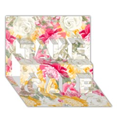 Colorful Floral Collage Take Care 3d Greeting Card (7x5)