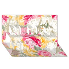 Colorful Floral Collage Merry Xmas 3d Greeting Card (8x4)
