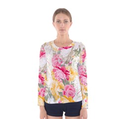 Colorful Floral Collage Women s Long Sleeve T Shirts by Dushan