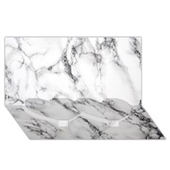 White Marble Stone Print Twin Heart Bottom 3d Greeting Card (8x4)  by Dushan