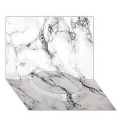 White Marble Stone Print Circle Bottom 3d Greeting Card (7x5)