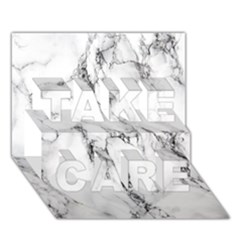 White Marble Stone Print Take Care 3d Greeting Card (7x5)  by Dushan