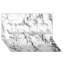 White Marble Stone Print Merry Xmas 3d Greeting Card (8x4)  by Dushan