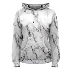 White Marble Stone Print Women s Pullover Hoodies by Dushan