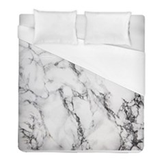 White Marble Stone Print Duvet Cover Single Side (twin Size) by Dushan