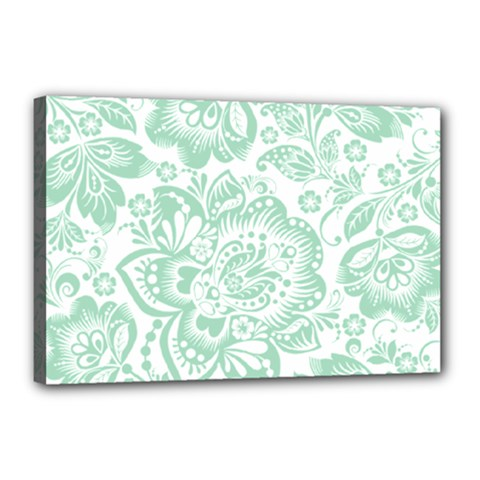 Mint Green And White Baroque Floral Pattern Canvas 18  X 12  by Dushan
