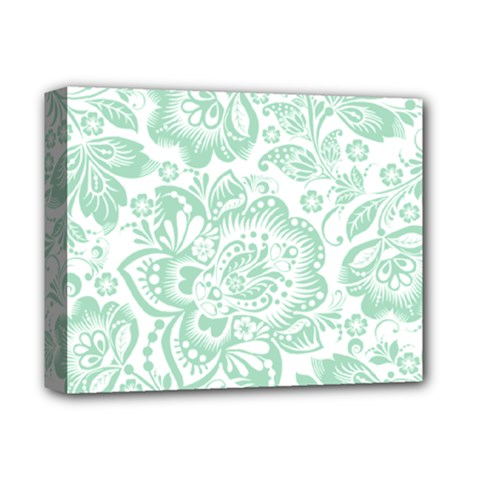 Mint Green And White Baroque Floral Pattern Deluxe Canvas 14  X 11  by Dushan