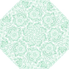 Mint Green And White Baroque Floral Pattern Golf Umbrellas by Dushan