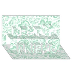 Mint Green And White Baroque Floral Pattern Best Friends 3d Greeting Card (8x4)