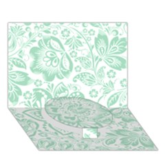 Mint Green And White Baroque Floral Pattern Circle Bottom 3d Greeting Card (7x5)  by Dushan