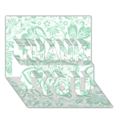 Mint Green And White Baroque Floral Pattern Thank You 3d Greeting Card (7x5)  by Dushan