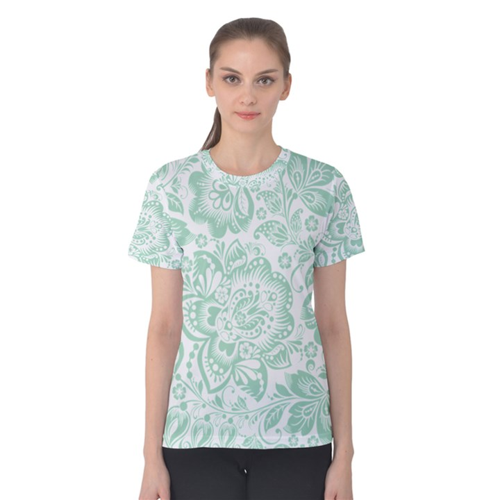 Mint green And White Baroque Floral Pattern Women s Cotton Tees