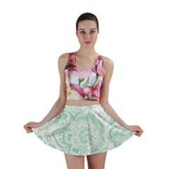 Mint Green And White Baroque Floral Pattern Mini Skirts by Dushan