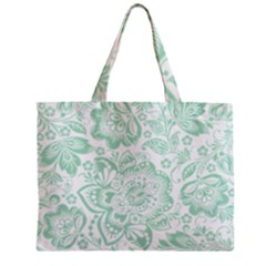 Mint green And White Baroque Floral Pattern Zipper Tiny Tote Bags by Dushan