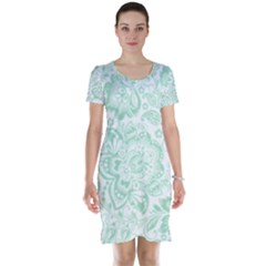 Mint Green And White Baroque Floral Pattern Short Sleeve Nightdresses by Dushan