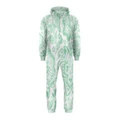Mint Green And White Baroque Floral Pattern Hooded Jumpsuit (kids) by Dushan