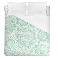 Mint Green And White Baroque Floral Pattern Duvet Cover Single Side (full/queen Size) by Dushan