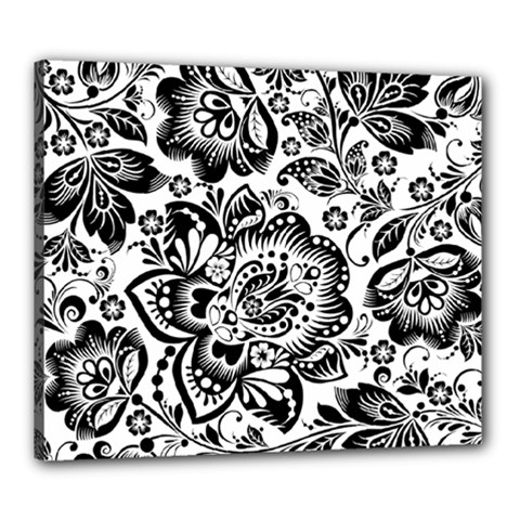 Black Floral Damasks Pattern Baroque Style Canvas 24  X 20  by Dushan