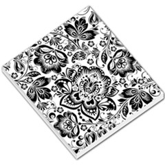 Black Floral Damasks Pattern Baroque Style Small Memo Pads by Dushan
