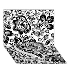 Black Floral Damasks Pattern Baroque Style Heart Bottom 3d Greeting Card (7x5)