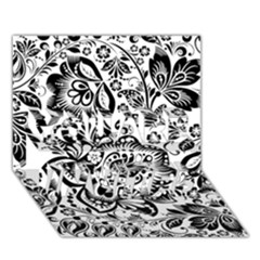 Black Floral Damasks Pattern Baroque Style You Are Invited 3d Greeting Card (7x5)  by Dushan