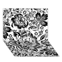 Black Floral Damasks Pattern Baroque Style Clover 3D Greeting Card (7x5)