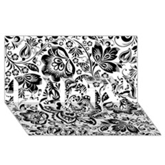 Black Floral Damasks Pattern Baroque Style Party 3d Greeting Card (8x4)  by Dushan