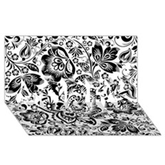 Black Floral Damasks Pattern Baroque Style Sorry 3d Greeting Card (8x4)