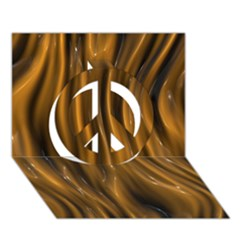 Shiny Silk Golden Peace Sign 3d Greeting Card (7x5)