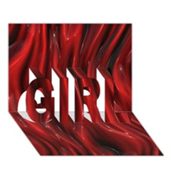 Shiny Silk Red Girl 3d Greeting Card (7x5)