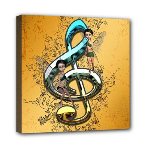 Music, Clef With Fairy And Floral Elements Mini Canvas 8  X 8  by FantasyWorld7