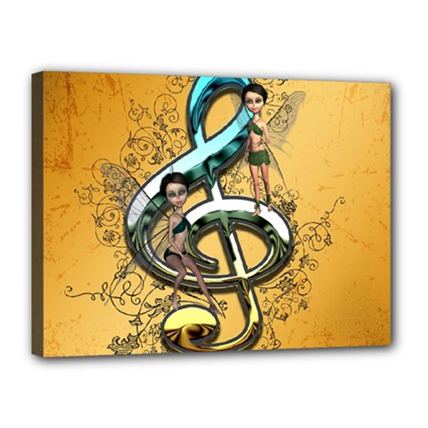 Music, Clef With Fairy And Floral Elements Canvas 16  X 12  by FantasyWorld7