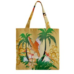 Funny Budgies With Palm And Flower Zipper Grocery Tote Bags by FantasyWorld7