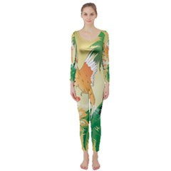 Funny Budgies With Palm And Flower Long Sleeve Catsuit by FantasyWorld7