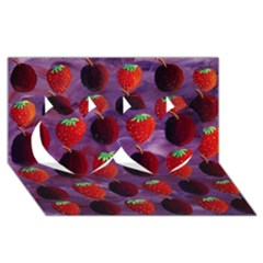 Strawberries And Plums  Twin Hearts 3d Greeting Card (8x4)  by julienicholls