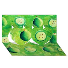Apples In Halves  Twin Hearts 3d Greeting Card (8x4)  by julienicholls