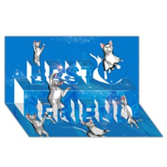Funny, Cute Playing Cats With Stras Best Friends 3d Greeting Card (8x4)