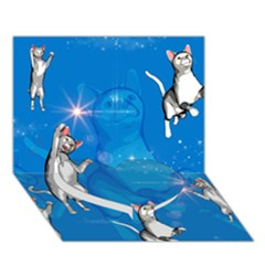 Funny, Cute Playing Cats With Stras Heart Bottom 3d Greeting Card (7x5)