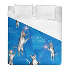 Funny, Cute Playing Cats With Stras Duvet Cover Single Side (twin Size) by FantasyWorld7