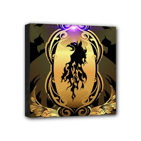Lion Silhouette With Flame On Golden Shield Mini Canvas 4  X 4  by FantasyWorld7