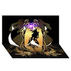 Lion Silhouette With Flame On Golden Shield Twin Hearts 3d Greeting Card (8x4)