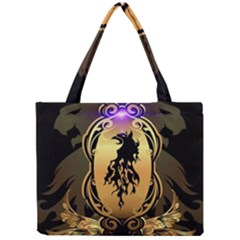 Lion Silhouette With Flame On Golden Shield Tiny Tote Bags by FantasyWorld7