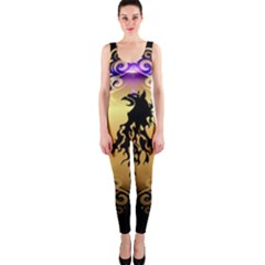 Lion Silhouette With Flame On Golden Shield Onepiece Catsuits by FantasyWorld7