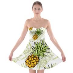 Pineapple Pattern 06 Strapless Bra Top Dress by Famous
