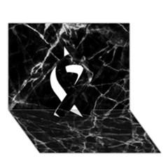 Black Marble Stone Pattern Ribbon 3d Greeting Card (7x5)  by Dushan