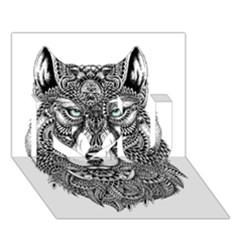 Intricate Elegant Wolf Head Illustration I Love You 3d Greeting Card (7x5)