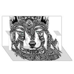 Intricate Elegant Wolf Head Illustration Mom 3d Greeting Card (8x4)  by Dushan