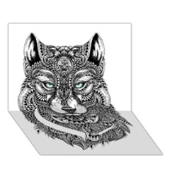 Intricate Elegant Wolf Head Illustration Heart Bottom 3d Greeting Card (7x5)